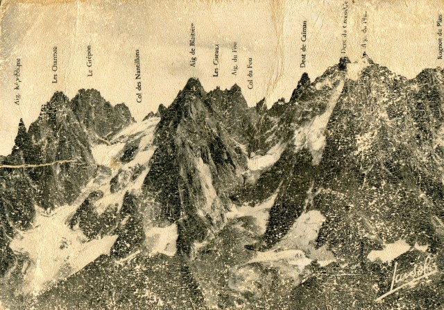 A very old postcard of the Chamonix Aiguilles