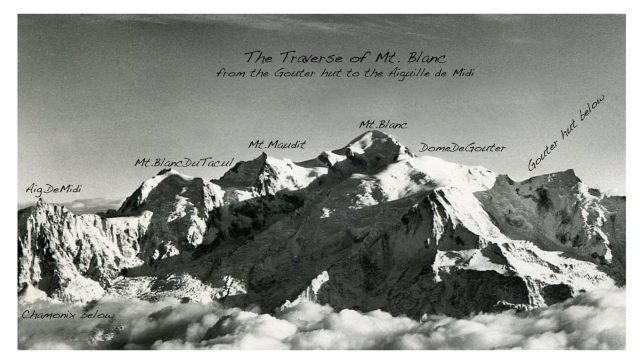 Mont Blanc (postcard annotated Tairraz photo). Click on photo to enlarge for better viewing