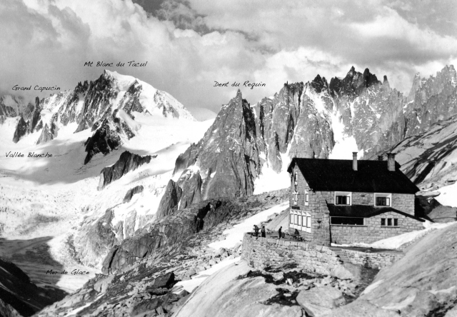 The Dent du Requin and other peaks, from L'envers des Aiguilles hut (postcard. Click to enlarge.