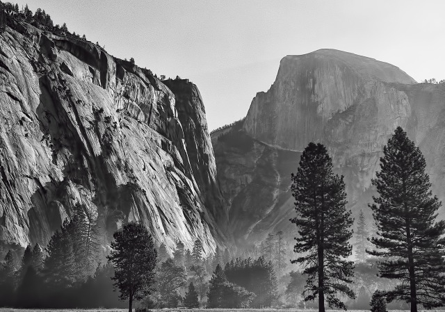 Yosemite Valley, with, from left to right: The Royal Arches, Washington Column and Half Dome. This photo was taken in 1965, with a 4X5 view camera. I was a student at UC-Berkeley at the time