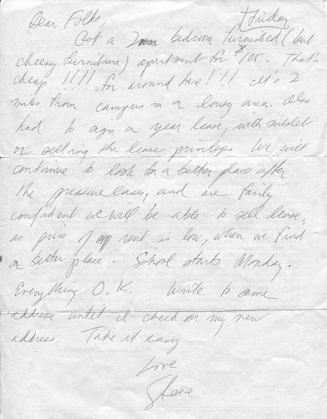 Backside of above admission letter. This was our place on 6th Street, seen above. The slum lord eventually screwed us out of our damage deposit, pretending he could not speak or understand English.