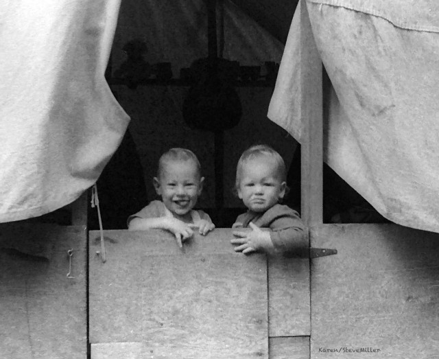 Ethan and friend in our hut at Foley Ridge, NOLS, 1968