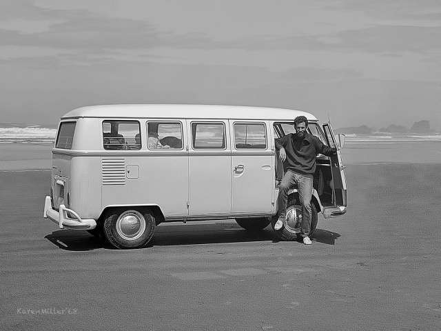 Me, on the Oregon Coast, with our crappy VW bus