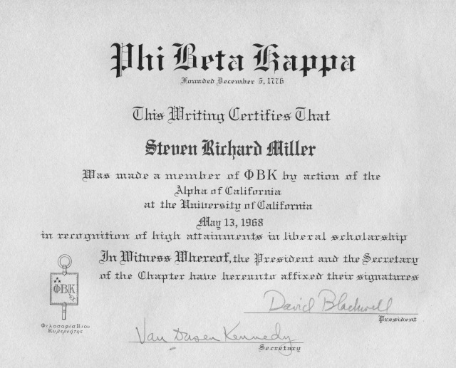 Phi Beta Kappa. You get in if you were in the top 10% of your class
