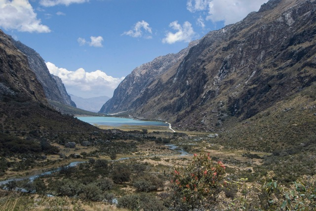 View of the upper Llanganuco Lake, as we climb towards the parking area at Cebollapampa