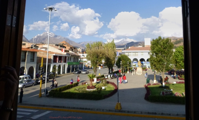Plaza view, looking east to the Cordillera Blanca