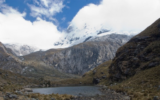 Chacraraju, from small lake at the entrance to the base camp area