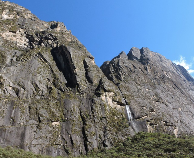 Granite walls form a portal into the valley of the Llanganuco Lakes. These walls form the pedestals for, to the north, Huandoy, and to the south, Huascaran norte