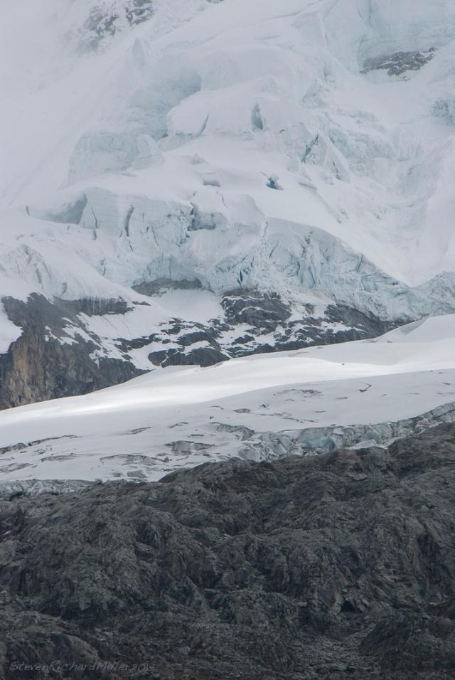 Chacraraju hanging glacier and icefall