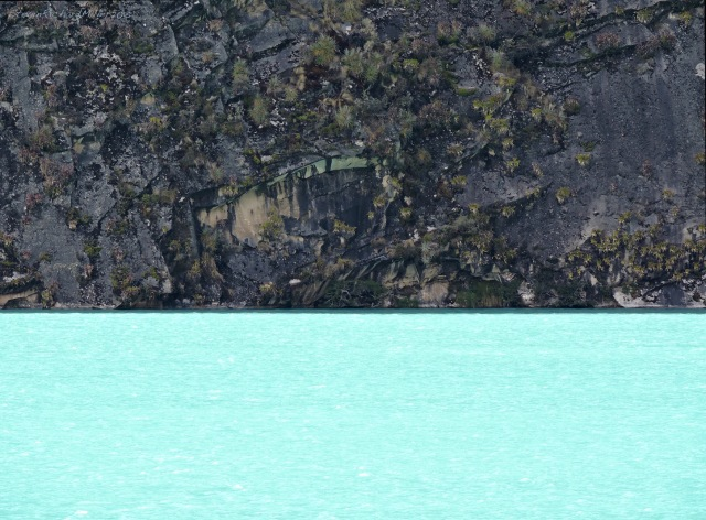 The first Llanganuco Lake, colored turquoise by glacial milk