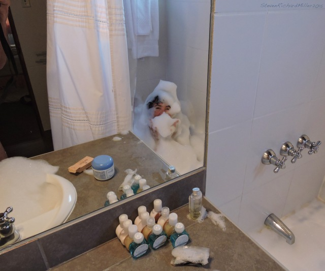 Kathy takes a bubble bath at the Hotel Antigua, in the Miraflores district