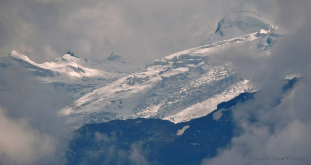 Glaciated mountains to the east