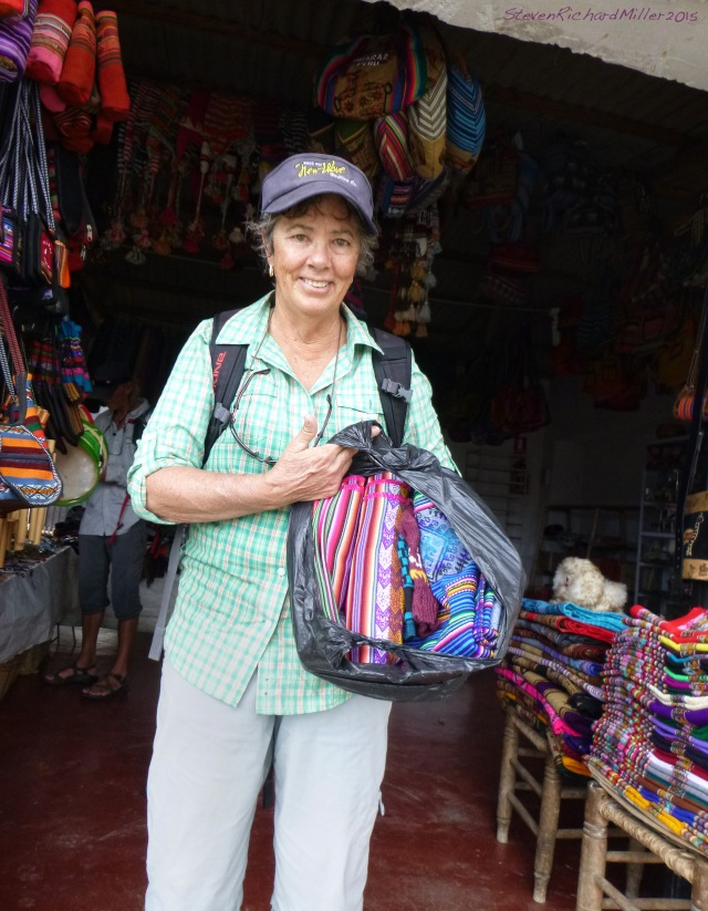 Kathy makes her first purchases of local textiles