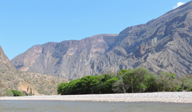 Downstream view, with the flat-topped Cerro Callejon to the right.