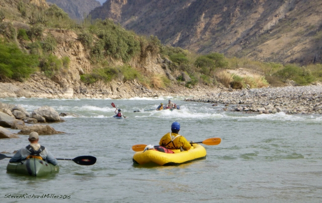 Zacarias, in the inflatable kayak, at Santa Rosa Rapid (III+)