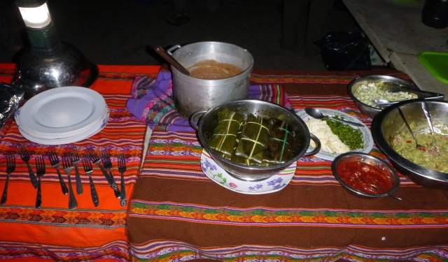 Camp #2 dinner - Peruvian tamales, wrapped in leaves