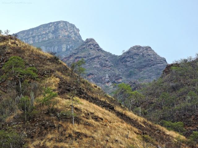 Telephoto view of the limestone escarpment