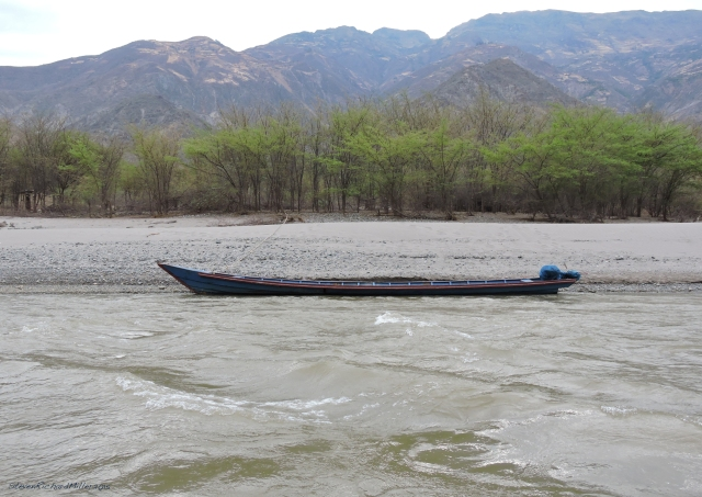 A motorized boat.