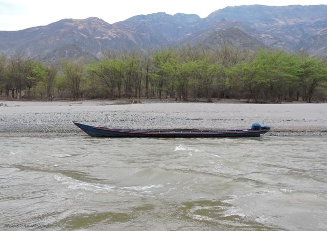A motorized boat.