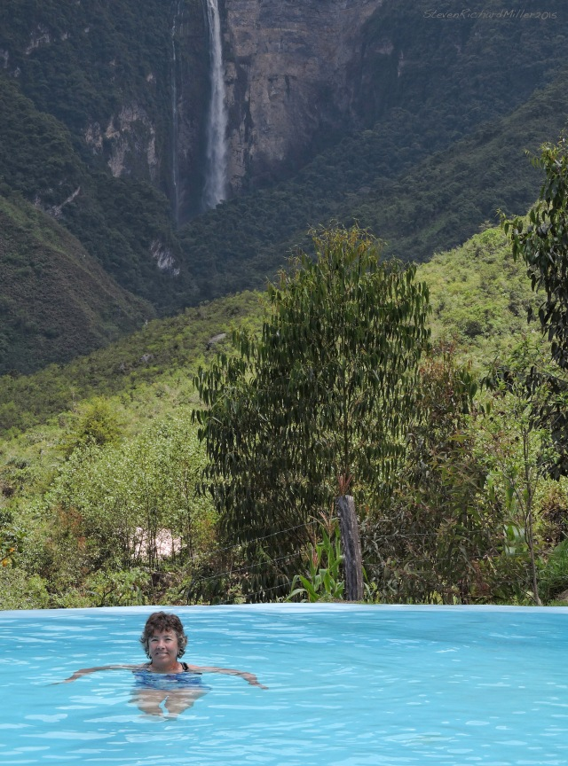 Kathy, in the infinity pool