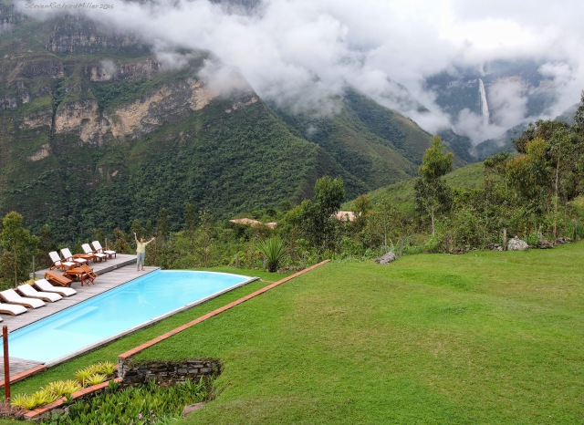 The infinity pool and the waterfall