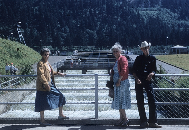 Bonneville fish ladder. Me, Mom and Etta