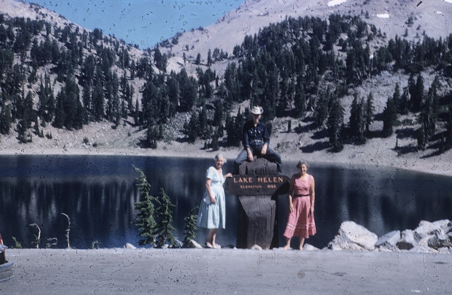 Mt. Lassen and Lake Helen. Me, Mom and Etta.