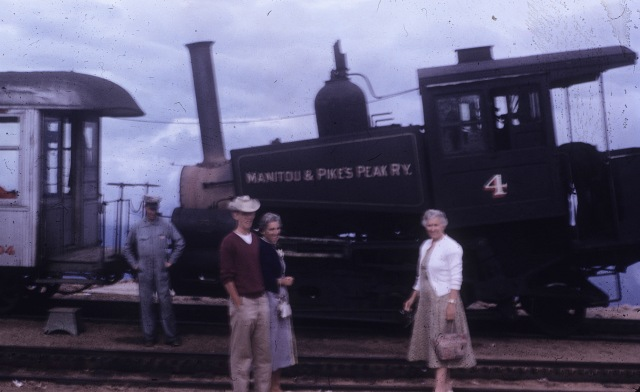 Pikes Peak narrow gauge railway. Me, Mom and Etta
