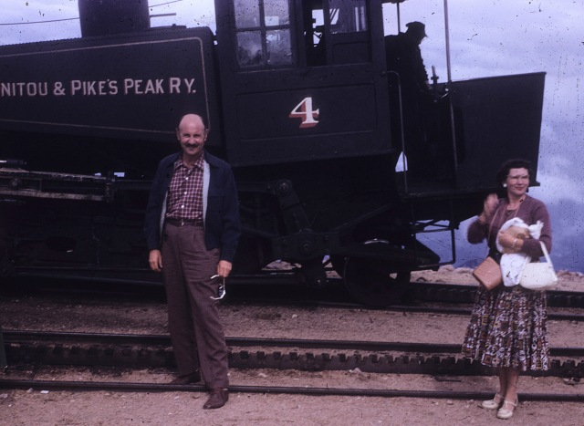 Pikes Peak narrow gauge railway. Dad.