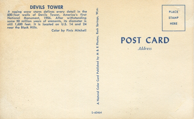 Devils Tower postcard backside