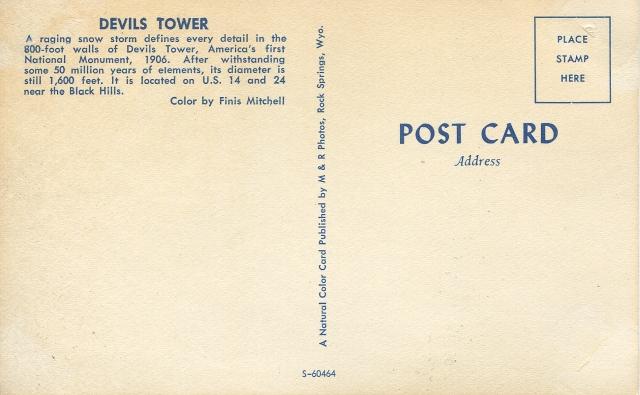 Devils Tower postcard backside