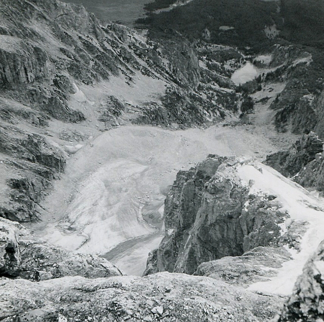 From the summit of the Grand, East Ridge, Teton Glacier and moraine