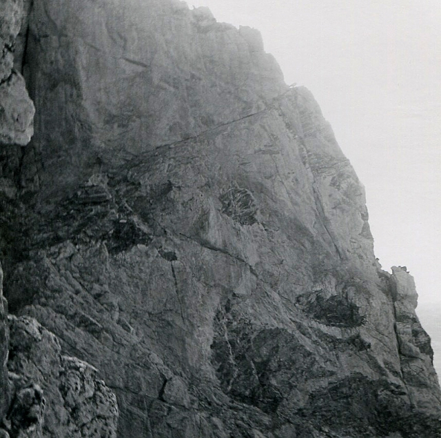 Exum route ledge. This ledge is followed to the skyline, and then the Exum roiute goes up from there.