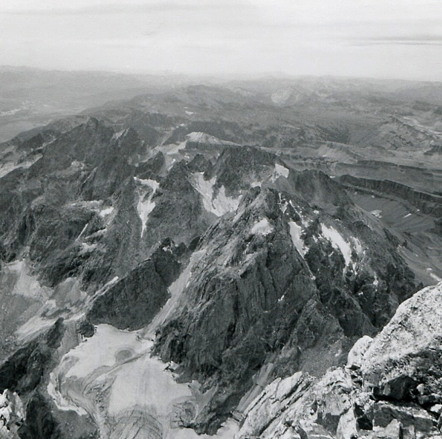 From the summit of the Grand, looking south to Middle Teton and glacier and South Teton