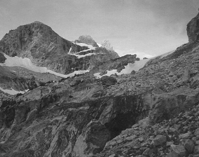 Garnet Canyon by first light. Left to right: Cloudveil Dome, Spalding Peak and Gilkey Tower