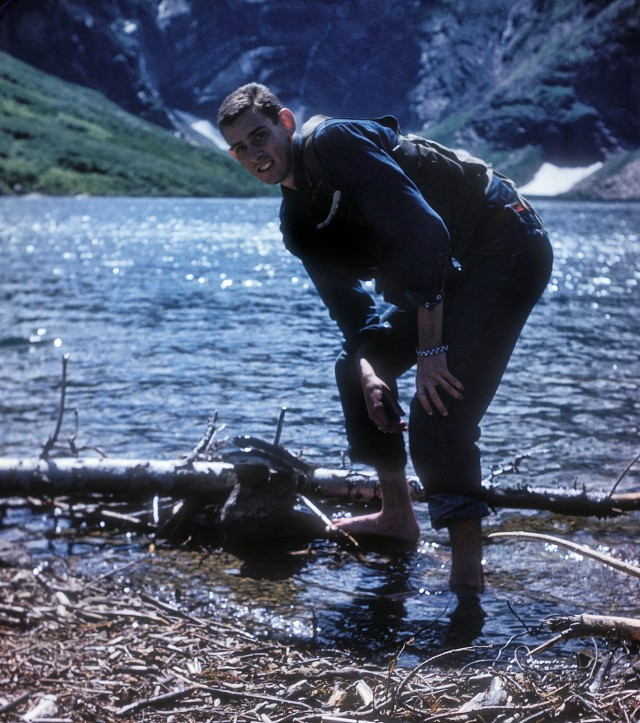 Gunsight Pass hike, fishing in Gunsight Lake. In those days I automatically killed and cleaned all trout I caught.