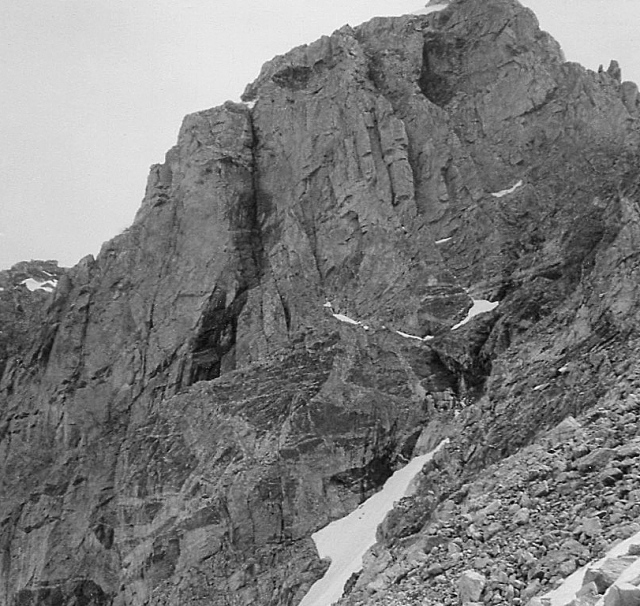 Middle Teton North Face. The black chimney was the supposed Direct North Face route
