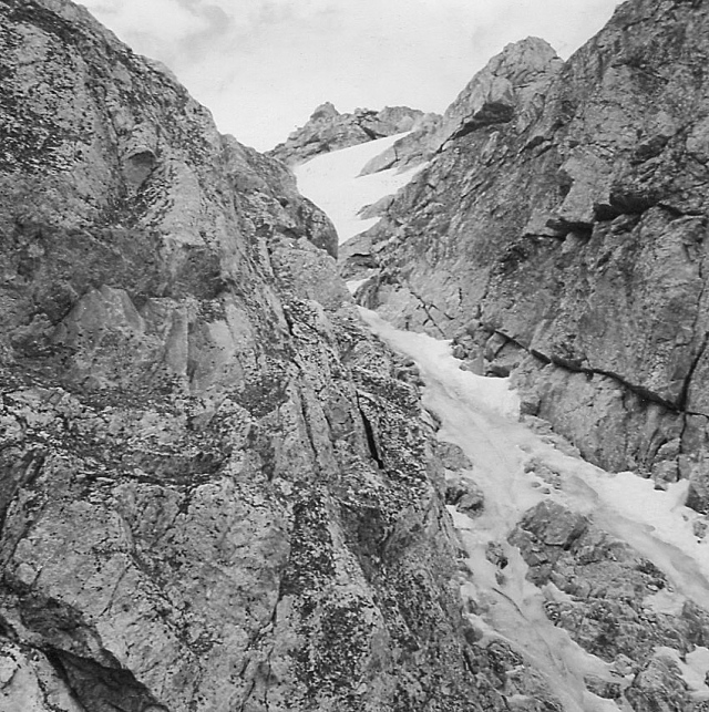 Middle Teton, NW gully. My friend, Harry Frishman, fell down this gully to his death, during a winter climb, about 20 years later.