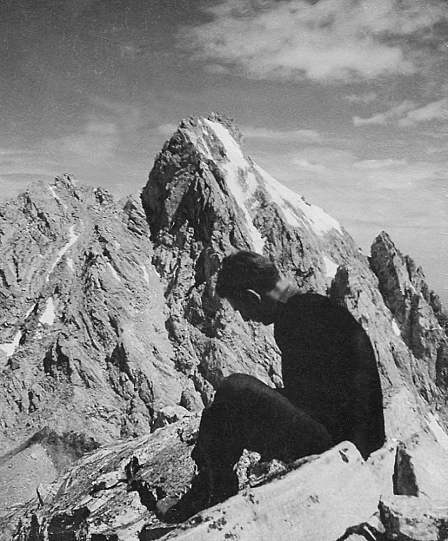 Middle Teton summit, me and the Grand Teton beyond. The Upper saddle is the notch immediately to the left of the shadowed upper part of the peak