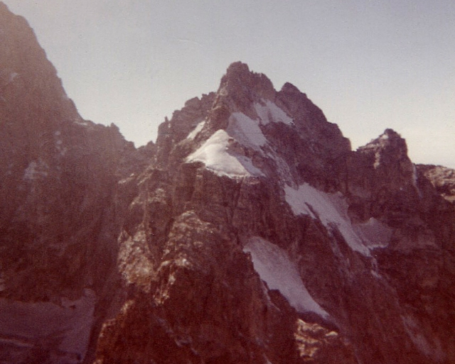 From the summit of Teewinot, Mt. Owen, the Northeast Snowfields, which I would climb four years later