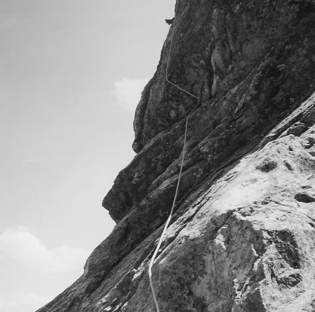 Peter leads, Hangover Pinnacle. My note on the back of the photo says
