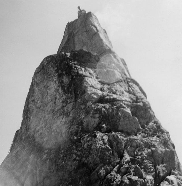 Peter on summit of Hangover Pinnacle
