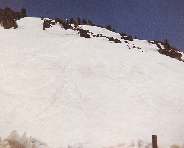 Ski tracks at the pass