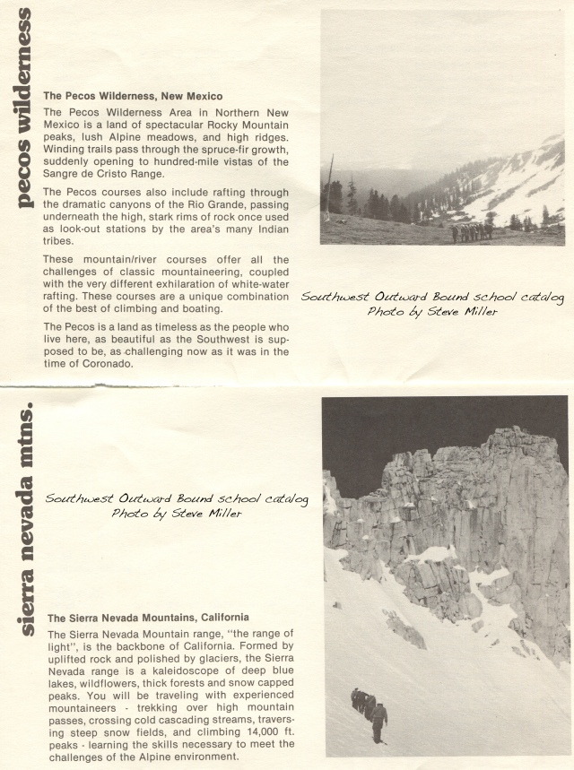 Page from the SOBS catalog. The photos are actually from Colorado (top) and the Sierra Nevada (bottom)