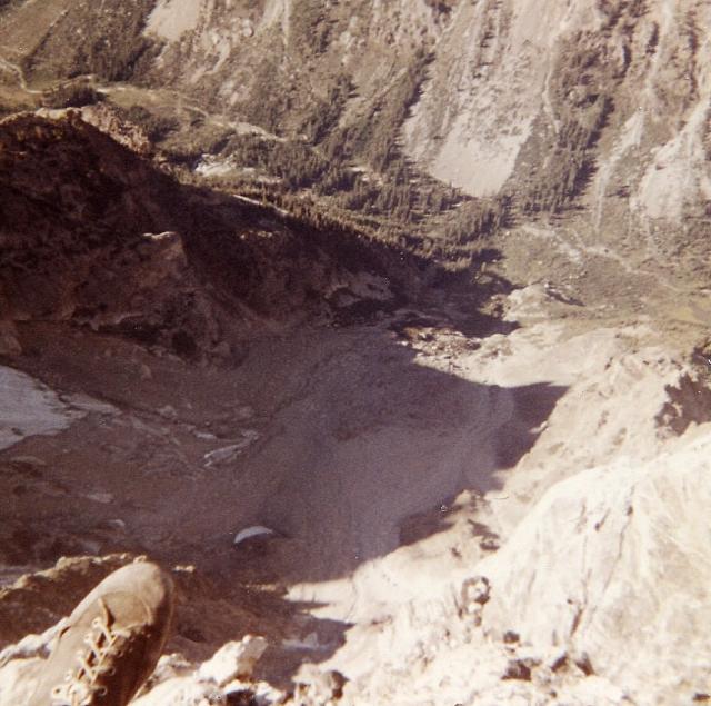 Teewinot summit. Looking straight down 4500' to Cascade Creek.