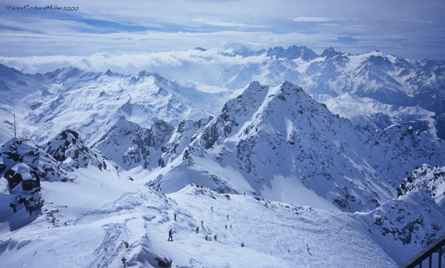 From the Col de Gentianes, you can take a tram to the summit of Mont Fort, the high of the ski area.