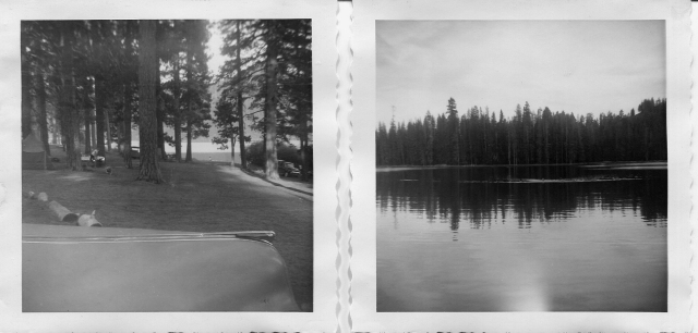 """Butte Lake CG, which I note as """"idyllic"""",. and Ed swimming in Widow Lake"""