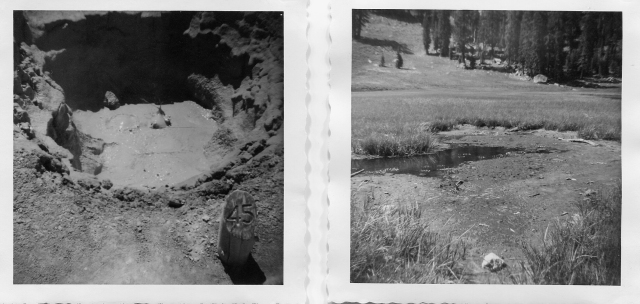 Bumpas Hell. Mud pot (left). Cold Boiling Lake (right).