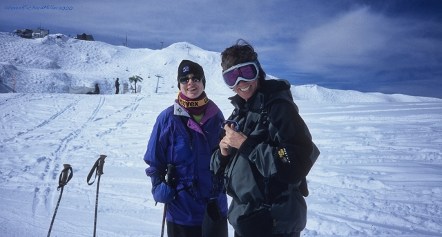 We skied down into Lac de Vaux, and Attelas can be seen on the ridge behind Kathy and Laina.