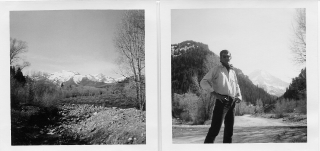 In American Fork Canyon, looking back up at the mountains (left), and David (right)